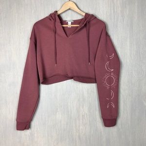 Forever 21 cropped hoodie sun moon rose gold XS